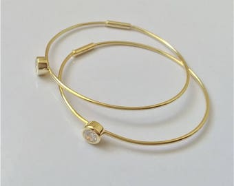 Gold Plated on Sterling Silver Hoop Earrings, Thin Hoop Earrings, Medium Hoop Earrings, Minimalist Everyday Earrings.