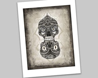 Dual Tibetan Demon Skulls Tattoo Illustration, Gothic Horror Art Print, Sale