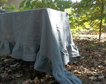 Gray Linen Tablecloth Ruffled Linen Tablecloth Custom Table Cloth Gray Tablecloth Wedding Decorations Table Decor
