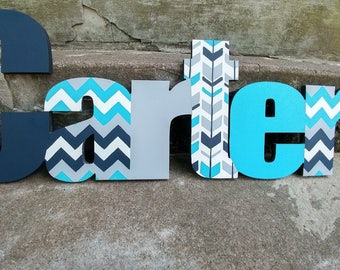 Custom Boys Name Sign - Nursery Wall Letters Name Sign - Wood Wall Letters Boy Style Chevron and Arrows