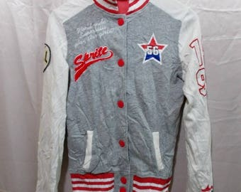 15% Offer..!!! Co And Lu Sprite Big Logo Printed Button Up University Varsity Jacket