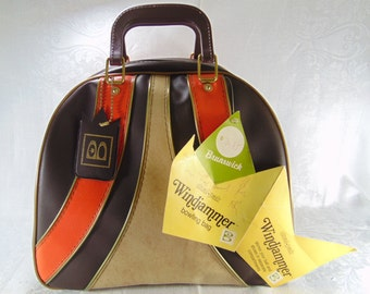 Vintage 1967 Classic Brunswick Windjammer Bowling Ball Bag, Brown, Orange, Beige Bowling Ball Bag