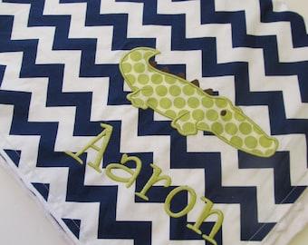 Personalized Baby Blanket- Minky Baby Blanket- Navy Chevron Minky Blanket- Alligator Blanket- Boy Baby Blanket- Chevron Blanket