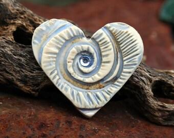 Handmade Porcelain Cabochon  HEART
