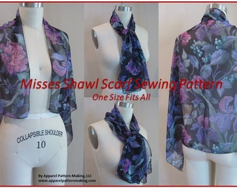 Ladies Shawl, Scarf Downloadable PDF Sewing Pattern, Accessories, DIY Sewing Craft, One Size, Easy Sewing, Sewing Pattern for Fabric