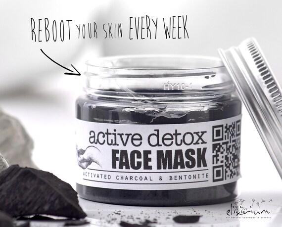 ACTIVE DETOX Facial Mask • Activated Charcoal & Bentonite clay organic face mask with Green Tea for detoxificative face treatment.