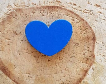 Wood blue heart bead