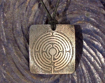 Labyrinth Pendant Stainless Steel Etched - Clarity, Focus, Wholeness