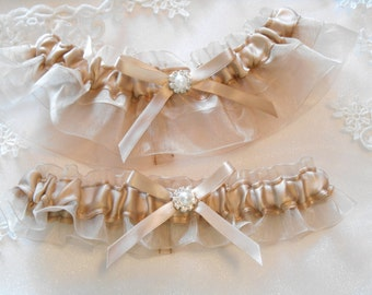 Organza Wedding Garter CUSTOM Colors Satin and Organdy, Pearl or Rhinestone set in Gold or Silver