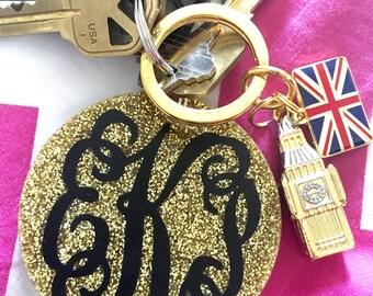 Gold Glitter Monogram Keychain 2.5 in