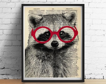 RACCOON Wearing Glasses Art Print Poster Animal Illustration Home Decor Nursery Wall Art, Black White Red, Dictionary Art