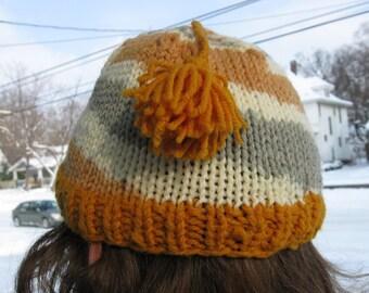 Knit Hat Gold Twist Spiral Stocking Cap with Tassel Child