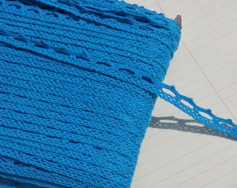 "Blue Cluny Lace - Dark Aqua Narrow Cluny Crochet Torchon Trim - 1/2"" Wide"