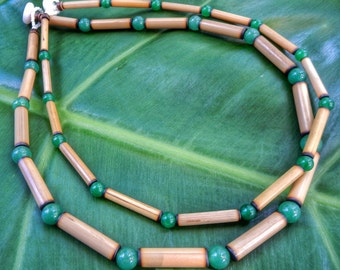 Kauai Bamboo Jewelry - Hawaiian Bamboo and Aventurine Necklace
