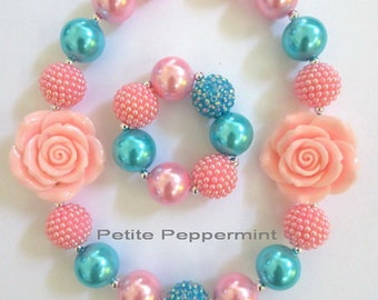 Pink Turquoise Baby Necklace, Girl Bead Necklace, Toddler Girl Necklace, Girl Necklace Set, Bubblegum Necklace, Chunky Necklace Bracelet Set
