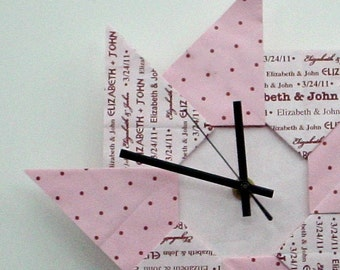 Colorful 1st Anniversary/ Wedding Origami Gift Clock - Pink with Dots