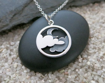 Moon and Cloud Necklace, Sterling Silver Moon and Clouds Pendant, Celestial Necklace, Moon Jewelry
