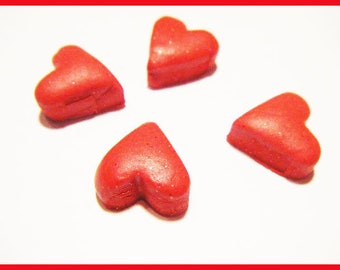 4 mini fimo polymer clay - Valentine heart cabochons
