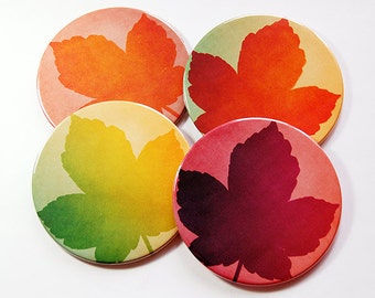 Leaf Coasters, Wine Coasters, Coasters, Drink Coasters, Hostess Gift, Housewarming Gift, Thanksgiving Coasters, Fall Colors, Nature (5126)
