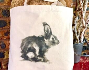 Large canvas cotton Tote Bag, bunny bag, animal tote bag, screen printed tote bag, rabbit gift, eco friendly bag, reusable shopping bag