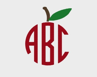 Apple Monogram Topper Embroidery file in 6 sizes (1 - 6 inch) in Multiple file formats for most machines - INSTANT DOWNLOAD - Item #2050
