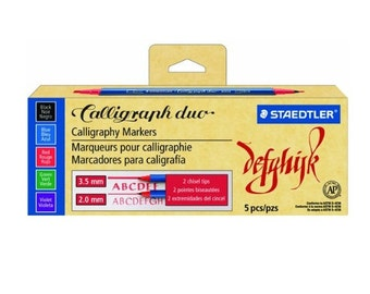 5 Caligraph Duo Calligraphy Staedtler Markers Pens Stylo, Chisel Tip, Dual Tip, 5 Color Markers Pens; Drawing, Writing, Calligraphy
