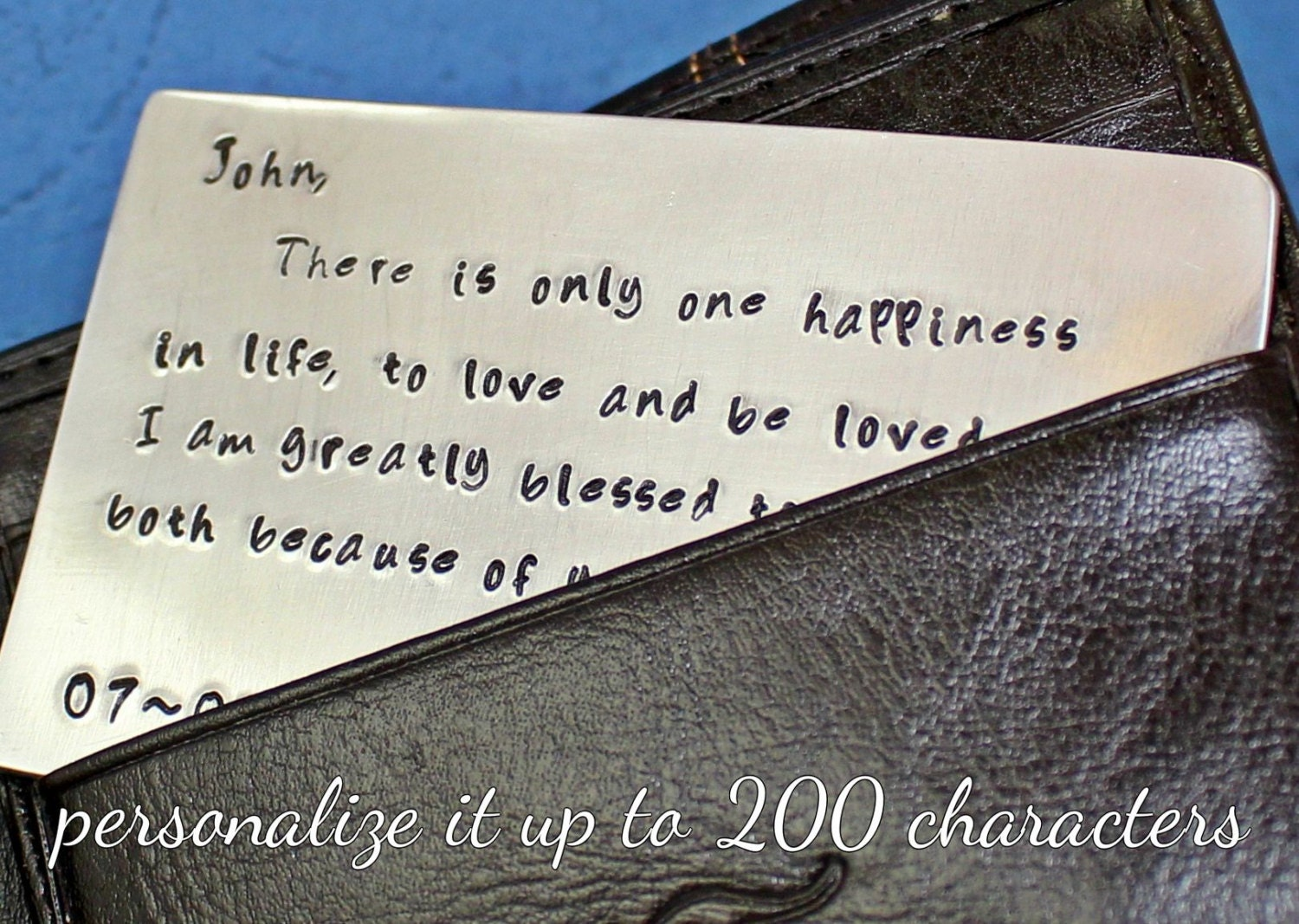 Wallet Insert Card Hand Stamped Aluminum Personalized Mens Gift - UP TO 200 Characters - Husband Boyfriend Gift.. Anniversary Gift