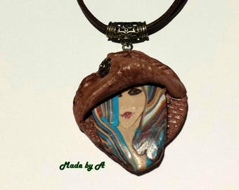 Necklace Polymer clay lady
