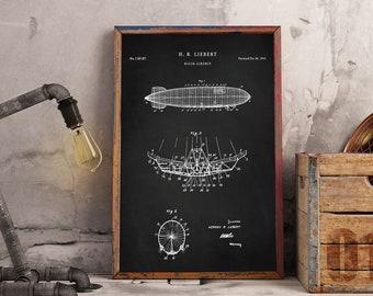 Airship Patent Print Art 1944 | Poster Printable Wall Art| Digital Blueprint Artwork drawing | Patentprints P420