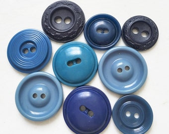 vintage recycled assorted blue buttons--mixed lot of 9