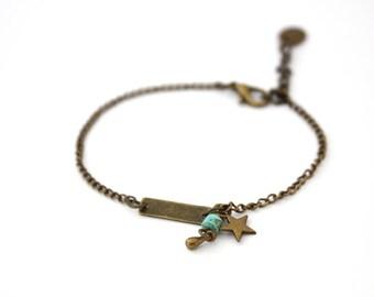 Ethnic bracelet / bronze color Bracelet / Charm Bracelet / chain Bracelet / feather Bracelet