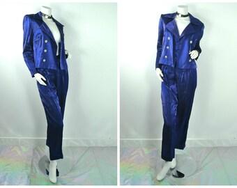 90s RnB TLC Iridescent navy blue 2 piece jacket pants suit M 8 Petite