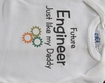 Future Engineer, engineer baby one piece, engineer baby clothing, engineer baby clothes, engineer baby gift, engineer baby present,