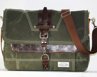Waxed Canvas Messenger bag - handmade - MILITARY GREEN + leather accents + brown shoulder strap 010026