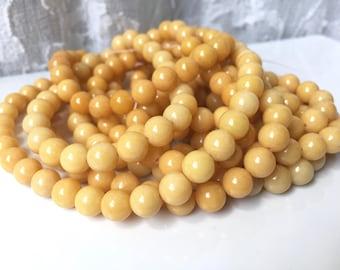 Yellow Jasper Beads, Healing Chakra Beads, Manipura Chakra, Round Yellow Beads, Solar Plexus Chakra Beads, Appx 50 Beads