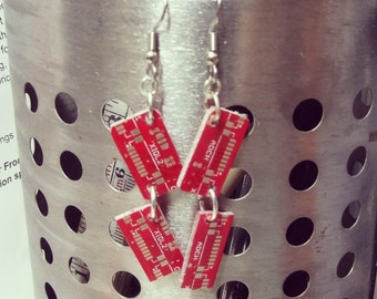 Red circuit board earrings FREE SHIPPING in US