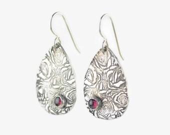 Sterling Silver Rose Earrings - Sterling Silver Garnet Earrings - Rose Earrings - Eco Friendly Earrings