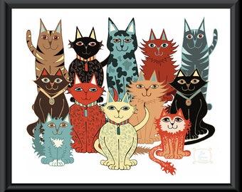 A Dozen Cats Art Downloadable Print