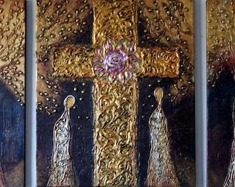 Original Textured Metallic Religious Painting PRAYER - made to order - 48x36