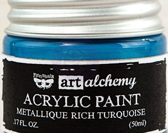 Finnabair Art Alchemy Metallique Prima Metallic Acrylic Paint 1.7 oz  RICH TURQUOISE Blue #963231