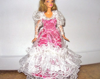 Barbie Dress Magenta Pink Satin and White Lace