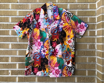 80s/90s psychedelic abstract floral button down