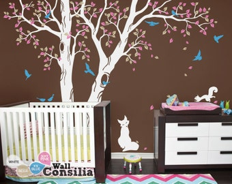 """Baby Nursery Wall Decals - Tree Wall Decal - Tree Decal Wall Mural Sticker - Squirrel and Fox Decal - Large: approx 91"""" x 128"""" - KC042"""