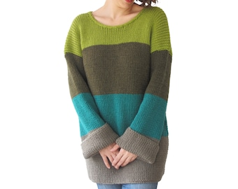 New! Long Sleeved Colourful Hand Knitted Sweater by AFRA