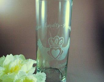 Wedding Unity Candle - Irish Claddagh Personalized Etched Glass Candle Vase w/ Floating Candle