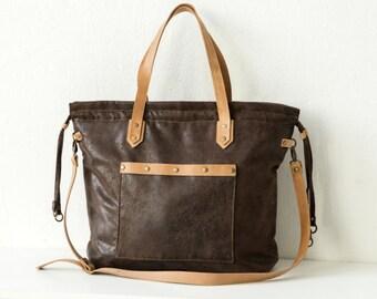 Braune Handtasche / ANTIK LOOK&Lederdetails / grosse Tasche für Damen