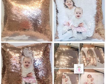 Mermaid sequin reveal glitter cushion/pillow. Add photo, image, text (profanity/swearing too),