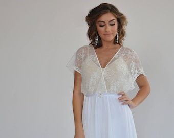Bohemian lace top wedding dress, simple wedding dress, casual wedding dress, boho wedding dress, sleeves lace wedding dress