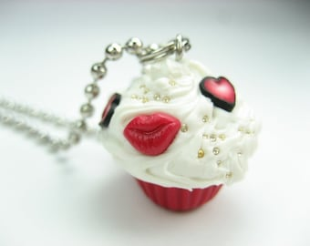 Mini Love and Kisses Cupcake necklace - food jewelry , food necklace, cupcake jewelry, red, love, heart, kisses, polymer clay, gift for her
