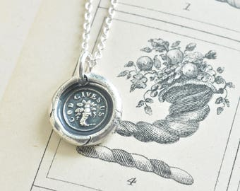 cornucopia wax seal necklace - god gives us - horn of plenty - fine silver wax seal jewelry